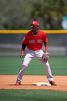 Boston Red Sox Luis Alejandro Basabe (16) during practice before a minor league Spring Training game against the Tampa Bay Rays on March 23, 2016 at Charlotte Sports Park in Port Charlotte, Florida.  (Mike Janes/Four Seam Images)