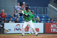 John Ryan Murphy (12) of the Gwinnett Stripers at bat against the Scranton/Wilkes-Barre RailRiders at Coolray Field on August 16, 2019 in Lawrenceville, Georgia. The Stripers defeated the RailRiders 5-2. (Brian Westerholt/Four Seam Images)