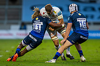21st August 2020; AJ Bell Stadium, Salford, Lancashire, England; English Premiership Rugby, Sale Sharks versus Exeter Chiefs; Marland Yarde of Sale Sharks makes a tackle