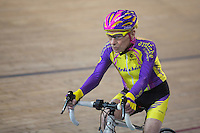 French cyclist Robert Marchand, aged 105, rides on his way to cover 22.528 km (14.08 miles) in one hour to set a new record at the indoor Velodrome National in Montigny-les-Bretonneux, southwest of Paris, France, January 4, 2017.