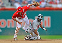 24 September 2011: Atlanta Braves outfielder Michael Bourn is tagged out stealing second by Danny Espinosa of the Washington Nationals at Nationals Park in Washington, DC. The Nationals defeated the Braves 4-1 to even up their 3-game series. Mandatory Credit: Ed Wolfstein Photo