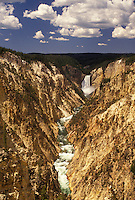 Yellowstone National Park, WY, Yellowstone River, Lower Falls, Canyon Village, Wyoming, Scenic view of Lower Falls cascading down the Yellowstone Canyonfrom Artist Point in Yellowstone Nat'l Park in Wyoming. The Grand Canyon of Yellowstone.