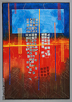 """""""The Sky Fell Down"""", Quilt by artist Marie Jensen, using appliqué, fusible web and hand painted fabrics. 28""""x40"""""""