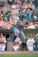Lehigh Valley IronPigs left fielder Adron Chambers (15) at bat during a game against the Rochester Red Wings on June 29, 2018 at Frontier Field in Rochester, New York.  Lehigh Valley defeated Rochester 2-1.  (Mike Janes/Four Seam Images)