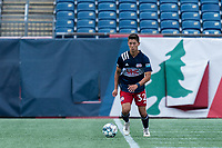 FOXBOROUGH, MA - JULY 25: USL League One (United Soccer League) match. Simon Lekressner #32 of New England Revolution II looks to pass during a game between Union Omaha and New England Revolution II at Gillette Stadium on July 25, 2020 in Foxborough, Massachusetts.