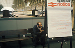 """Paddington main line railways station. May 14th 1972. The first ever national strike. No trains ran in England for the first time that day. London. UK. Special Notice says:- """"... There will be no services from this station until after 0700 hours Monday 15 may 1972"""""""