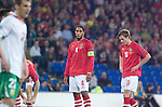 Frustrated Wales Captain Ashley Williams and Andy King during the Euro 2010 qualifying match between Wales and Bulgaria at Cardiff City Stadium..