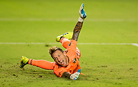 CARSON, CA - OCTOBER 07: Steve Clark #12 GK of the Portland Timbers dives for a ball during a game between Portland Timbers and Los Angeles Galaxy at Dignity Heath Sports Park on October 07, 2020 in Carson, California.