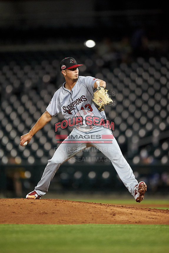 Scottsdale Scorpions relief pitcher Mike Ellenbest (13), of the Toronto Blue Jays organization, during an Arizona Fall League game against the Mesa Solar Sox on September 18, 2019 at Sloan Park in Mesa, Arizona. Scottsdale defeated Mesa 5-4. (Zachary Lucy/Four Seam Images)