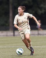 Boston College forward Victoria DiMartino (1) dribbles down the wing. After two overtime periods, Boston College tied University of Central Florida, 2-2, at Newton Campus Field, September 9, 2012.