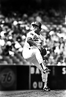 Los Angeles Dodgers pitcher Fernando Valenzuela #34 during a game against the New York Mets at Dodger Stadium during the 1987 season in Los Angeles,California.(Larry Goren/Four Seam Images)