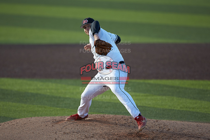 North Greenville Crusaders relief pitcher JK Love (25) in action against the Bellarmine Knights at Ashmore Park on February 7, 2020 in Tigerville, South Carolina. The Crusaders defeated the Knights 10-2. (Brian Westerholt/Four Seam Images)