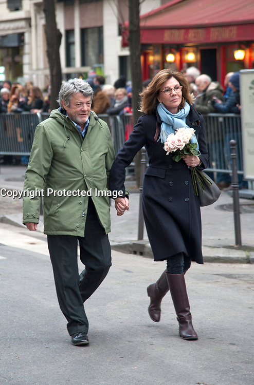 January 12 2018, Paris, France - Funerals of Singer France Gall in Montmartre Cemetery in Paris. Politician Jean Louis Borloo and his wife Beatrice Schonberg are present. # OBSEQUES DE FRANCE GALL AU CIMETIERE DE MONTMARTRE