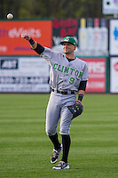 Clinton LumberKings outfielder Braden Bishop (9) warms up prior to a Midwest League game against the Wisconsin Timber Rattlers on May 9th, 2016 at Fox Cities Stadium in Appleton, Wisconsin.  Clinton defeated Wisconsin 6-3. (Brad Krause/Four Seam Images)