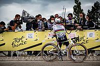 World Champion Julian Alaphilippe (FRA/Deceuninck - QuickStep) interviewed post-race<br /> <br /> Stage 10 from Albertville to Valence (191km)<br /> 108th Tour de France 2021 (2.UWT)<br /> <br /> ©kramon