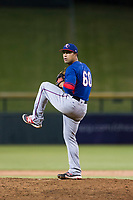AZL Rangers relief pitcher Xavier Paul (60) delivers a pitch to the plate against the AZL Cubs on July 24, 2017 at Sloan Park in Mesa, Arizona. AZL Cubs defeated the AZL Rangers 2-1. (Zachary Lucy/Four Seam Images)