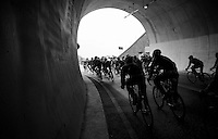 peloton exiting the Turchino tunnel<br /> <br /> 106th Milano - San Remo 2015