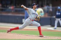Lakewood BlueClaws starting pitcher Dominic Pipkin (10) delivers a pitch during a game against the Asheville Tourists at McCormick Field on August 4, 2019 in Asheville, North Carolina. The Tourists defeated the BlueClaws 13-6. (Tony Farlow/Four Seam Images)