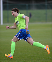 20150904 - TUBIZE , BELGIUM : Genk's Elke Meers pictured during a soccer match between the women teams of RSC Anderlecht and KRC Genk Ladies  , on the second matchday of the 2015-2016 SUPERLEAGUE season, Friday 4  September 2015 . PHOTO DAVID CATRY