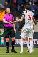23rd May 2021; Molineux Stadium, Wolverhampton, West Midlands, England; English Premier League Football, Wolverhampton Wanderers versus Manchester United; Nemanja Matic of Manchester United asks the referee for a penalty