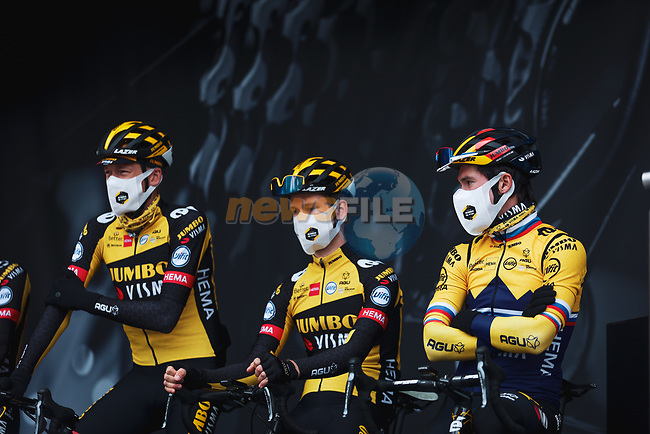 Robert Gesink (NED), Primoz Roglic (SLO) and Jumbo-Visma at the team presentations before the start of the 107th edition of Liege-Bastogne-Liege 2021, running 259.1km from Liege to Liege, Belgium. 25th April 2021.  <br /> Picture: A.S.O./Aurelien Vialatte | Cyclefile<br /> <br /> All photos usage must carry mandatory copyright credit (© Cyclefile | A.S.O./Aurelien Vialatte)