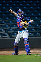 Myrtle Beach Pelicans catcher Cael Brockmeyer (9) on defense against the Winston-Salem Dash at BB&T Ballpark on May 2, 2016 in Winston-Salem, North Carolina.  The Pelicans defeated the Dash 3-2 in 11 innings.  (Brian Westerholt/Four Seam Images)