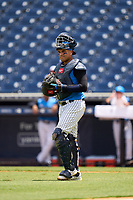 Tampa Tarpons catcher Carlos Narvaez (5) during a game against the Lakeland Flying Tigers on July 18, 2021 at George M. Steinbrenner Field in Tampa, Florida.  (Mike Janes/Four Seam Images)