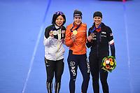 SPEEDSKATING: INZELL: Max Aicher Arena, 10-02-2019, ISU World Single Distances Speed Skating Championships, Podium 1500m Ladies, Miho Takagi (JPN), Ireen Wüst (NED), Brittany Bowe (USA), ©photo Martin de Jong