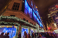 America,New York,  Manhattan, Christmas window posters at fifth ave