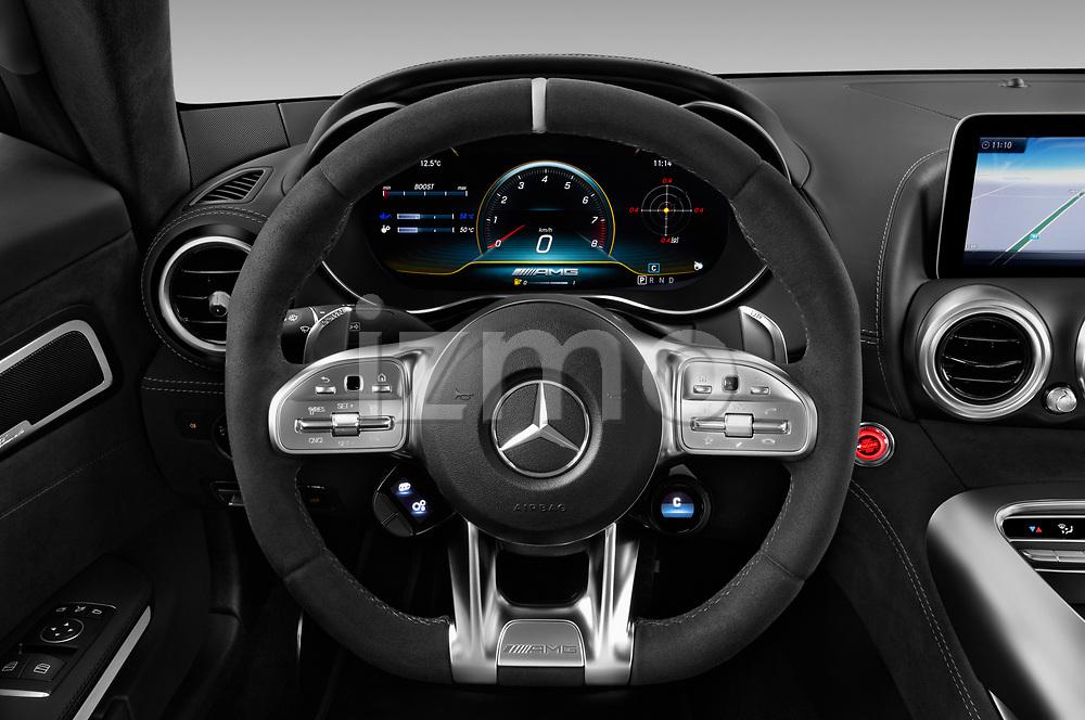 Car pictures of steering wheel view of a 2020 Mercedes Benz AMG-GT C 3 Door Coupe Steering Wheel