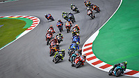 27th September 2020, Circuit de Barcelona Catalunya, Barcelona, MotoGp of Catalunya, Race Day; The field come through the first corners during the race during the race