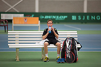 Rotterdam, The Netherlands, 15.03.2014. NOJK 14 and 18 years ,National Indoor Juniors Championships of 2014, Sander Jong (NED) during changeover<br /> Photo:Tennisimages/Henk Koster