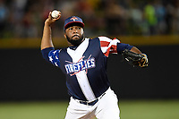Pitcher Adonis Uceta (30) of the Columbia Fireflies delivers a pitch in a game against the Rome Braves on Monday, July 3, 2017, at Spirit Communications Park in Columbia, South Carolina. Columbia won, 1-0. (Tom Priddy/Four Seam Images)