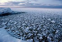 Slush ice along the shores of Lake Superior during the winter, Great Lakes of North America, Minnesota, USA