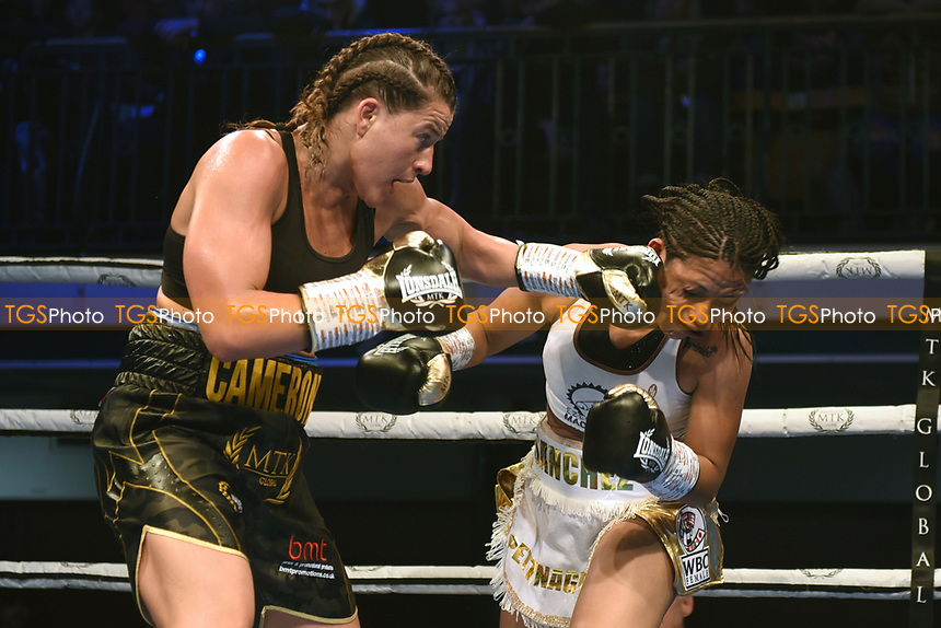 Chantelle Cameron (black shorts) defeats Anahi Ester Sanchez during a Boxing Show at York Hall on 9th November 2019