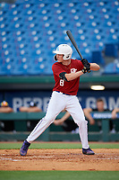 Will Koger (8) of Bardstown High School in Bardstown, KY during the Perfect Game National Showcase at Hoover Metropolitan Stadium on June 17, 2020 in Hoover, Alabama. (Mike Janes/Four Seam Images)