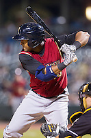 Zoilo Almonte (40) of the Scranton/Wilkes-Barre RailRiders at bat against the Charlotte Knights at BB&T Ballpark on July 17, 2014 in Charlotte, North Carolina.  The Knights defeated the RailRiders 9-5.  (Brian Westerholt/Four Seam Images)