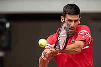 5th June 2021; Roland Garros, Paris France; French Open tennis championships day 7;   Novak DJOKOVIC of Serbia returns a ball against Ricardas BERANKIS of Lituania during the mens singles  the third round