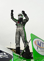 Sept. 30, 2012; Madison, IL, USA: NHRA funny car driver Jack Beckman celebrates after winning the Midwest Nationals at Gateway Motorsports Park. Mandatory Credit: Mark J. Rebilas-