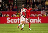CARSON, CA - FEBRUARY 07: Deanne Rose #6 of Canada traps the ball during a game between Canada and Costa Rica at Dignity Health Sports Complex on February 07, 2020 in Carson, California.