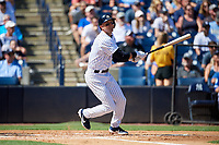 New York Yankees shortstop Troy Tulowitzki (12) hits a home run during a Grapefruit League Spring Training game against the Toronto Blue Jays on February 25, 2019 at George M. Steinbrenner Field in Tampa, Florida.  Yankees defeated the Blue Jays 3-0.  (Mike Janes/Four Seam Images)