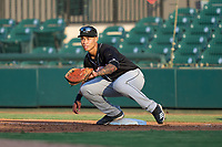 Jupiter Hammerheads first baseman Marcus Chiu (14) stretches for a throw during a game against the Lakeland Flying Tigers on July 30, 2021 at Joker Marchant Stadium in Lakeland, Florida.  (Mike Janes/Four Seam Images)