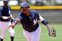 Reymond Nunez (57) Infielder for the GCL Yankees during a game on June 21, 2010 at the Yankees Training Complex in Tampa, The GCL Yankees are the Gulf Coast Rookie League affiliate of the New York Yankees. Photo By Mark LoMoglio/Four Seam Images