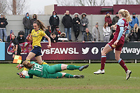 Courtney Brosnan of West Ham denies Lisa Evans of Arsenal during West Ham United Women vs Arsenal Women, Women's FA Cup Football at Rush Green Stadium on 26th January 2020