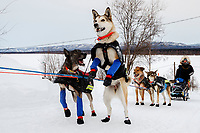 Kristy Berington's dogs are eager to keep running as she arrives at the Ruby checkpoint during the 2017 Iditarod on Thursday morning March 9, 2017.<br /> <br /> Photo by Jeff Schultz/SchultzPhoto.com  (C) 2017  ALL RIGHTS RESERVED