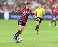 AUSTIN, TX - JUNE 16: Alex Morgan #13 of the United States brings the ball up the field during a game between Nigeria and USWNT at Q2 Stadium on June 16, 2021 in Austin, Texas.
