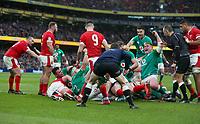 Saturday 8th February 2020 | Ireland vs Wales<br /> <br /> Josh van der Flier scores the third Irish try during the 2020 6 Nations Championship   clash between Ireland and Wales at he Aviva Stadium, Lansdowne Road, Dublin, Ireland. Photo by John Dickson / DICKSONDIGITAL