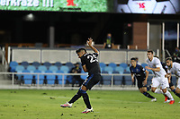 SAN JOSE, CA - OCTOBER 03: Andy Rios #25 of the San Jose Earthquakes takes a penalty kick during a game between Los Angeles Galaxy and San Jose Earthquakes at Earthquakes Stadium on October 03, 2020 in San Jose, California.