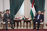Palestinian President Mahmoud Abbas meets with Japanese Foreign Minister Motegi Toshimitsu, in the West Bank city of Ramallah on August 17, 2021.. Photo by Thaer Ganaim