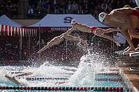 STANFORD, CA - February 17, 2018: Cole Cogswell, Ryan Dudzinski at Avery Aquatic Center. The Stanford Cardinal defeated the California Golden Bears 151-149 on Senior Day.